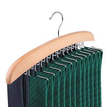 Wooden Tie Rack With 24Pcs Hooks Hanger Belt Scarf Holder Closet Organizer Storage Pack
