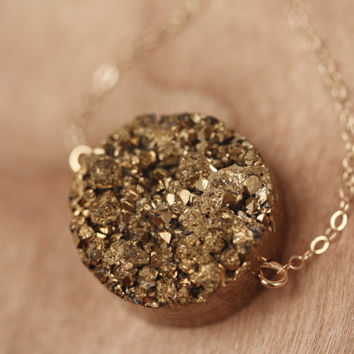 Drusy Agate Gold Nugget Necklace, Bronze Druzy Golden Pendant, Round Stone, Bling, Shiny, 14kt Gold Filled Chain, Layering, Color