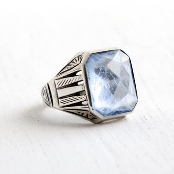Vintage Art Deco Blue Glass Stone Ring- Antique Size 7 1930s Sterling Silver Simulated Aquamarine Embossed Jewelry