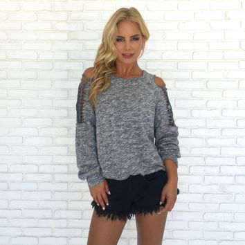Revelry Cold Shoulder Sweater Top in Grey