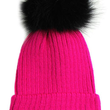 Large Fur Pom Pom Slouchie Knit Beanie Hat - Hot Pink