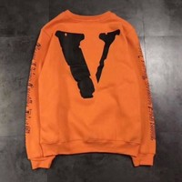 OFF-WHITE x VLONE Fashion Print Long Sleeve Top Sweater Pullover