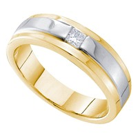 14kt Yellow Gold Mens Princess Diamond Solitaire Two-tone Stripe Wedding Band Ring 1/6 Cttw
