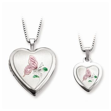 Sterling Silver Satin Butterfly Heart Mom Locket & Daughter Pendant Set