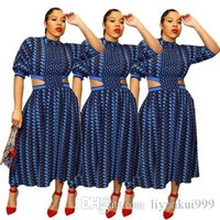 Women Summer Printed Dresses Casual Short Sleeved Dress Fashion Sexy Print Waist Hollow Design Dress Club Plus Size Clothing S-XL
