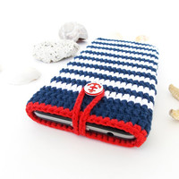 Nautical Sony Xperia X phone cover, Navy Blue LG G5 case, iPhone 6s bag, Nexus 5X sock, Huawei P9 sleeve, HTC m10 pouch, eco Samsung S7 cozy