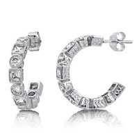 Round And Princess Cubic Zirconia CZ 925 Sterling Silver Hoop Earrings #e897