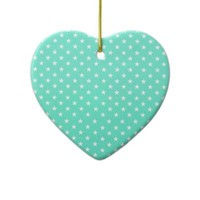 Mint Green And White Stars Christmas Tree Ornament