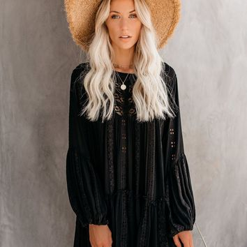 Kiss Kiss Embroidered Lace Tunic - Black - FREE PEOPLE
