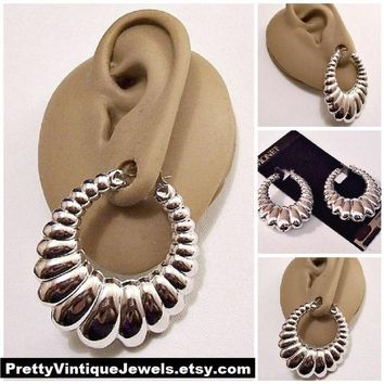 584baa9aa Monet Shrimp Graduated Hoops Pierced Earrings Silver Tone Vintage Ribbed  Puffed Long Large Oval Open Ring