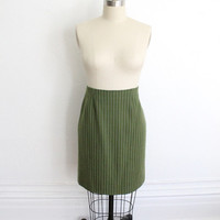 Vintage 60s Green Pin-Striped Wool Pencil Skirt // Short High Waisted Skirt