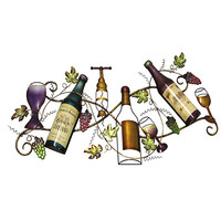 BELLACOR 400-22675 Multi-Colored Wine Bottle and Grape Wall Hanging Decor