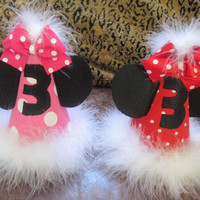 Orginal Minnie Mouse Birthday Party hat  - Babies 1st - 2nd Birthday Party hat - 1st 2nd 3rd twins Birthday hat - twins Birthday party hat