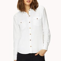 FOREVER 21 Day Off Collared Shirt Sky Blue Medium