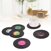6Pcs/set Retro Vinyl Drinks Coasters Table Cup Mat Home  Decor CD Record Coffee Drink Placemat Tableware Spinning