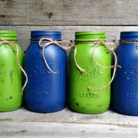 Distressed Navy and Sage Green Quart Size Mason Jars, Rustic Wedding Decor, Shower Favor, Rustic Home Decor, Baby Shower Decor, Set of 4