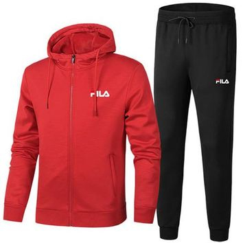 FILA winter new men's hooded sweater coat plus velvet casual sports two-piece red
