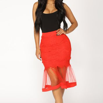 Plenty Of Fish In The Sea Midi Skirt - Red