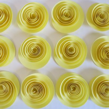 """yellow rosettes, set of 12 1.5"""" pastel roses set, colorful wedding floral decorations, bridal shower decor, party must haves"""