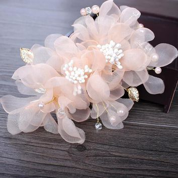 Best silk flower hair pins products on wanelo wedding party romantic white pink voile silk flower hair pin wit mightylinksfo