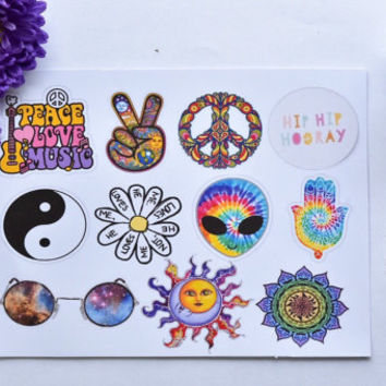 Tumblr stickers/ Hippie stickers / indie stickers /  (pack of 11 ) laptop stickers / phone sticker / sticker pack