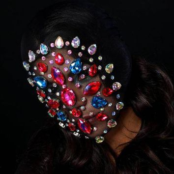 CARLENE COUTURE MASK, FACE MASK, RHINESTONE MASK