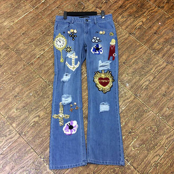 Runway Sequin Crystal Beading Flower Embroidery Designer Jeans