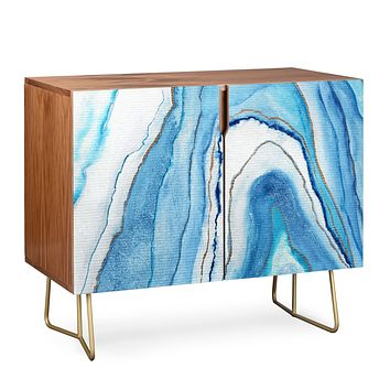 Viviana Gonzalez AGATE Inspired Watercolor Abstract 02 Credenza