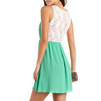 Lace Back Chiffon A-Line Dress: Charlotte Russe