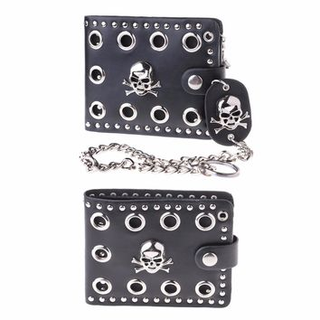 Skull Head Cross Black Leather Biker Hasp Wallet with Long Key Chain 48cm