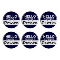 Dawson Hello My Name Is Plastic Resin Button Set of 6