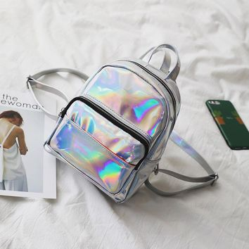 2017 New Backpacks ForTeenage Girls Holographic Women Laser Bright Skin Bookbags Sac a Dos Femme Holographic Travel Bag Rainbow