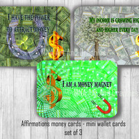 Money  affirmation set of 3 Power Cards  - Wisdom Cards - Motivational, inspirational and affirmation Cards - attract money cards