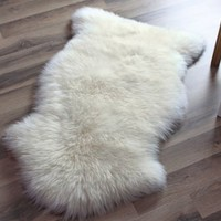 Genuine Australian Sheepskin Rug One Pelt Ivory Natural Fur, Single, Approx. 2ft. x 3ft.