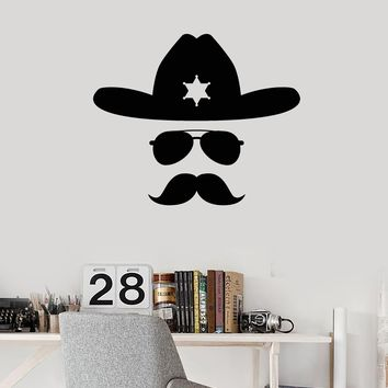 Vinyl Wall Decal Sheriff Face Mustache Hat Room Decor Interior Stickers Mural (ig5668)