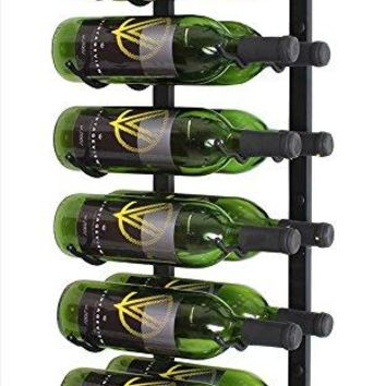 VintageView WS22 2-Foot 12 Bottle Wall Mounted Wine Rack in Satin Black (2 Rows Deep)