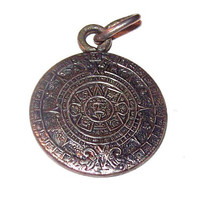 "Mayan Calendar Charm Pendant Signed IMP Taxco Eagle 925 Sterling Silver 1"" Vintage"