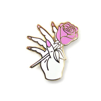 Nail Salon Lapel Pin (White/Gold)