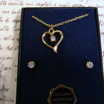Vintage Collectible Austrian Crystal Heart Necklace with Matching Earrings