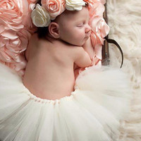 Ivory Tutu with Flower Headband Baby