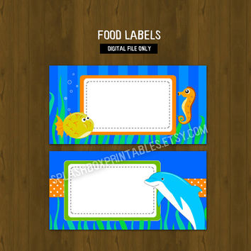 Under the Sea Printable Food Labels - Underwater or Sea Creatures Place Cards or Food Labels (Tent Cards) - INSTANT DOWNLOAD