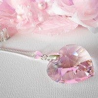 Swarovski Crystal Necklace Pink Heart Pendant with 24 Inch Silver Plated Chain