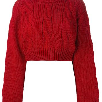 Vivienne Westwood Anglomania Cropped Cable Knit Sweater - Stefania Mode - Farfetch.com