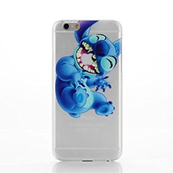 PBYE For iPhone 6 4.7'' Lovely Disney Cartoon Lilo and Stitch Eating/ Grabbing Apple logo Cute Clear Case Cover for Iphone 6 Xmas Gift (color 03#)