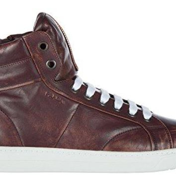 Prada men's shoes high top leather trainers sneakers bordeaux