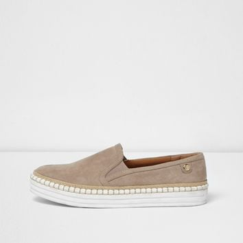 Beige slip on espadrille flatform plimsolls - Plimsolls & Sneakers - Shoes & Boots - women