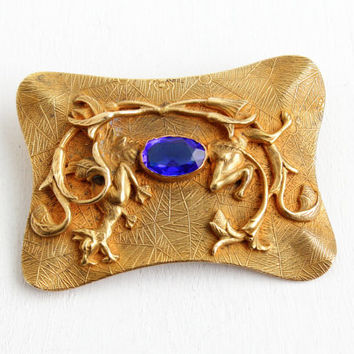 Antique Art Nouveau Dragon and Spider Blue Glass Stone Brooch - Large Vintage Signed C&R Edwardian Brass Sash Pin Jewelry