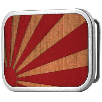 PEAPGQ9 Rising Sun Red Guilded Wood Belt Buckle