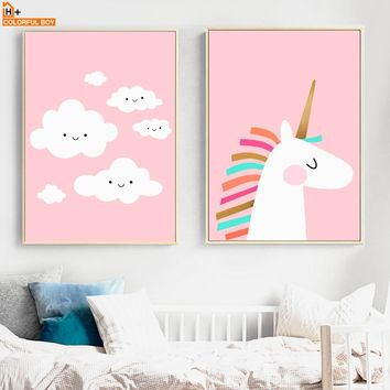 Pink Unicorn Cloud Wall Art Canvas Painting Nordic Posters And Prints Cartoon Animal Wall Pictures Kids Room Girl Bedroom Decor
