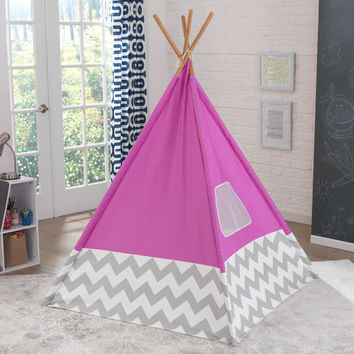 Deluxe Play Teepee in Pink & Gray Chevron